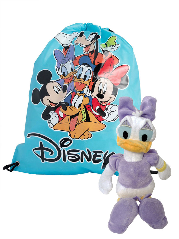 "Disney 11"" Daisy Duck Plush Toy w/ Mickey Cinch Tote Sling Bag 3 Piece Set"