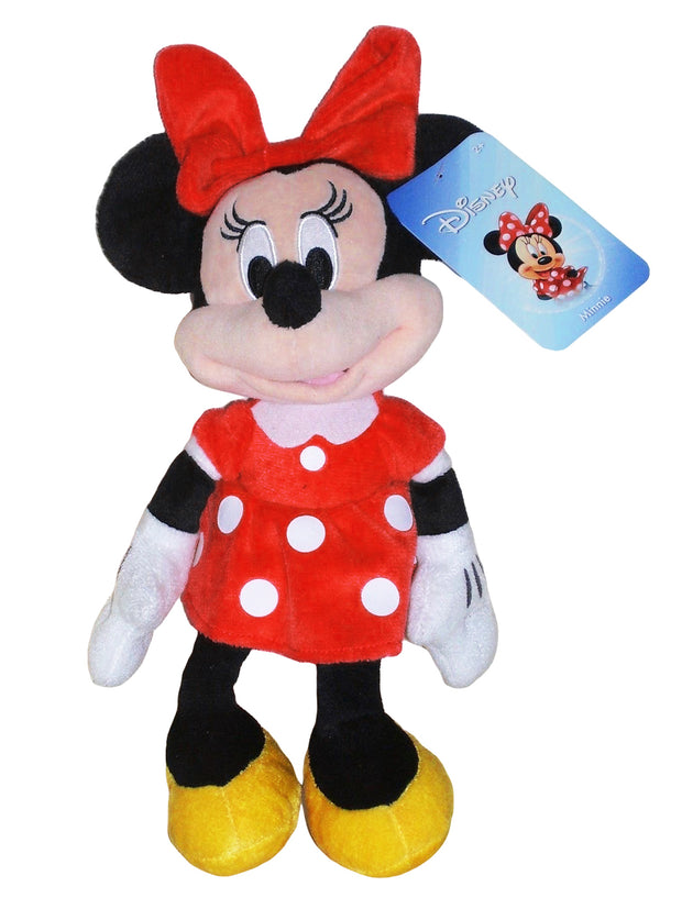 "Girls Minnie Mouse 11"" Plush Doll Beanbag Red Polka-dot Dress"
