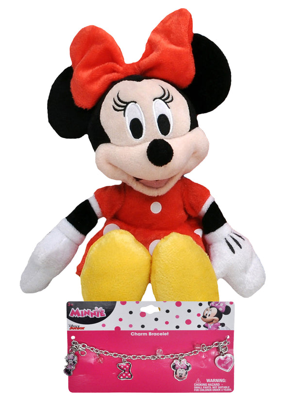"Minnie Mouse Red Dress 11"" Plush Doll & Charm Bracelet 2-Piece Set"