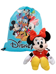 "Disney Girls 11"" Minnie Mouse Plush Doll Toy Red w/ 15"" Drawstring Sling Bag"