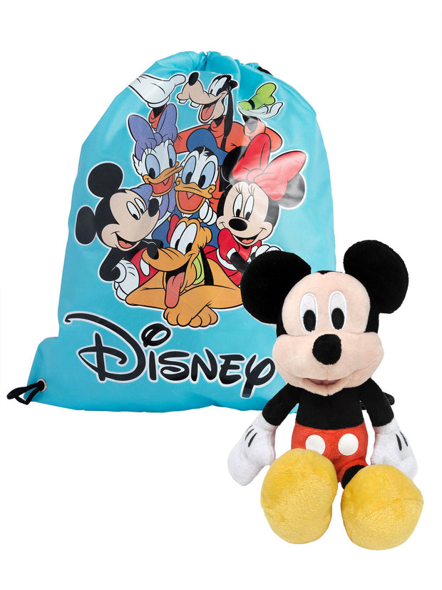 "Disney Mickey Mouse 11"" Plush Doll Toy w/ Mickey & Friends 15"" Cinch Sling Bag"