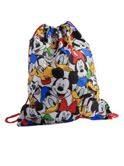 Mickey Minnie Donald Goofy Pluto Drawstring Tote Sling Bag White