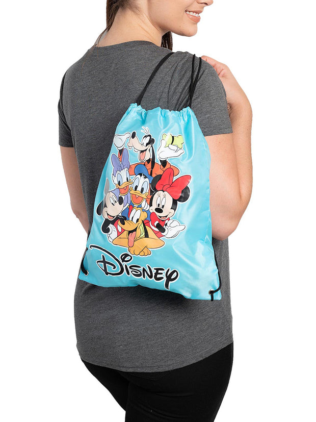 "Disney Mickey Mouse & Friends 15"" Drawstring Cinch Tote Sling Bag Blue"