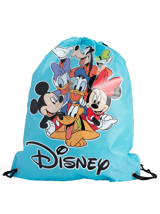 "Disney 11"" Goofy Plush Doll Toy w/ 15"" Mickey Drawstring Tote Sling Bag Set"