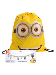 "Descpicable Me Minions 15"" Yellow Sling Bag w/ Girls Minions Charm Bracelet Set"
