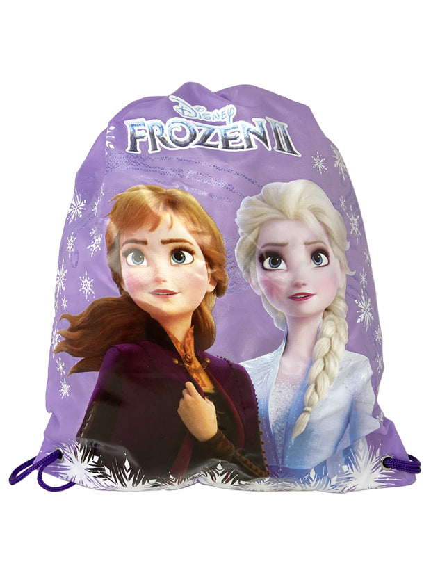 Frozen II Drawstring Tote Bag w/ Anna Elsa Grab-N-Go Play Pack Coloring Book
