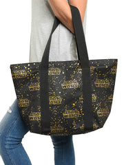 Star Wars Zippered Travel Tote Bag All-over Metallic Logo Shoulder Handbag Black