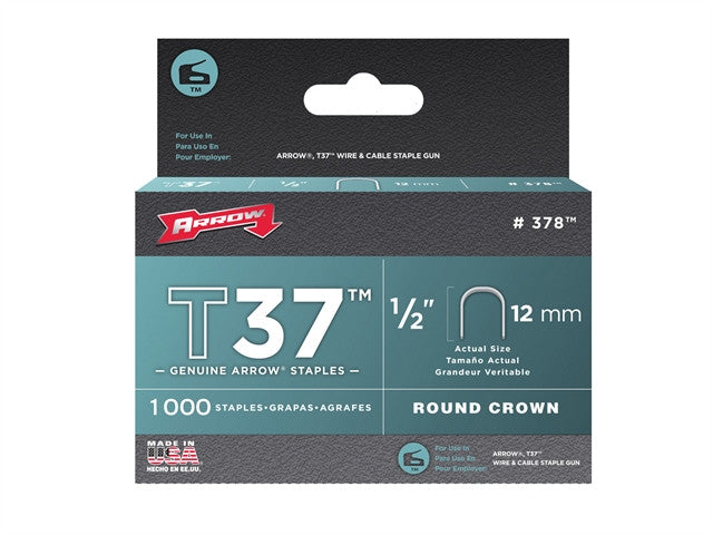 T37 Staples 12mm (1/2in) Box 1000