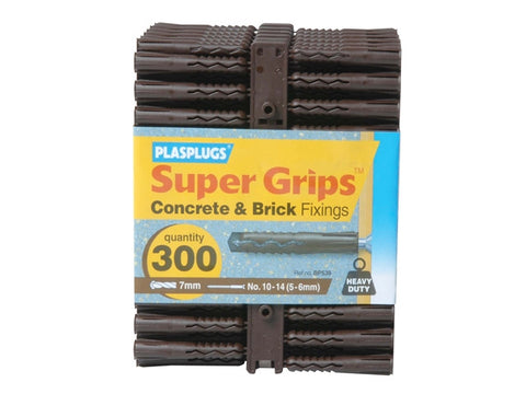 "Plasplugs BP 539 Solid Wall Super Gripsт""Ђ Fixings Brown"