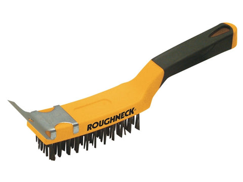 Roughneck Carbon Steel Wire Brush Soft-Grip with Scraper 300mm (12in)