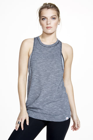 Meditation Tie Tank in Grey - AMAIA - 1