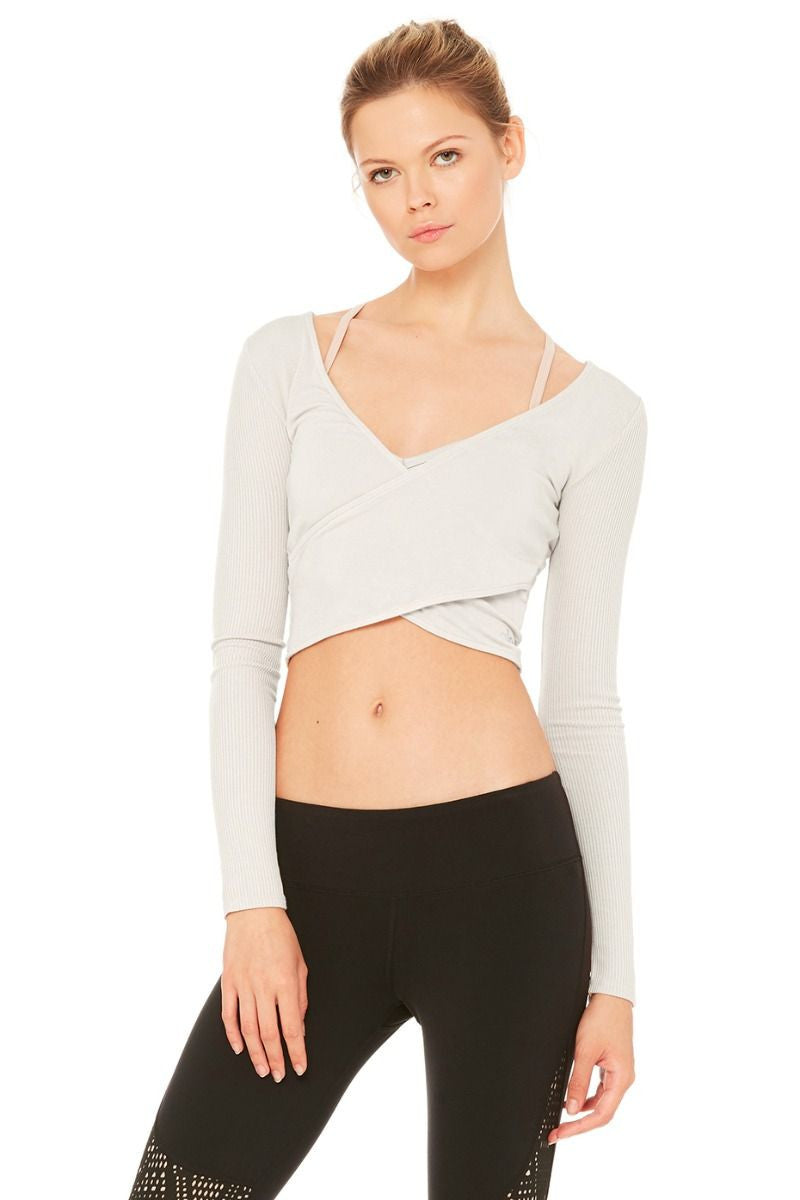 Amelia Long-Sleeve Crop in Mist