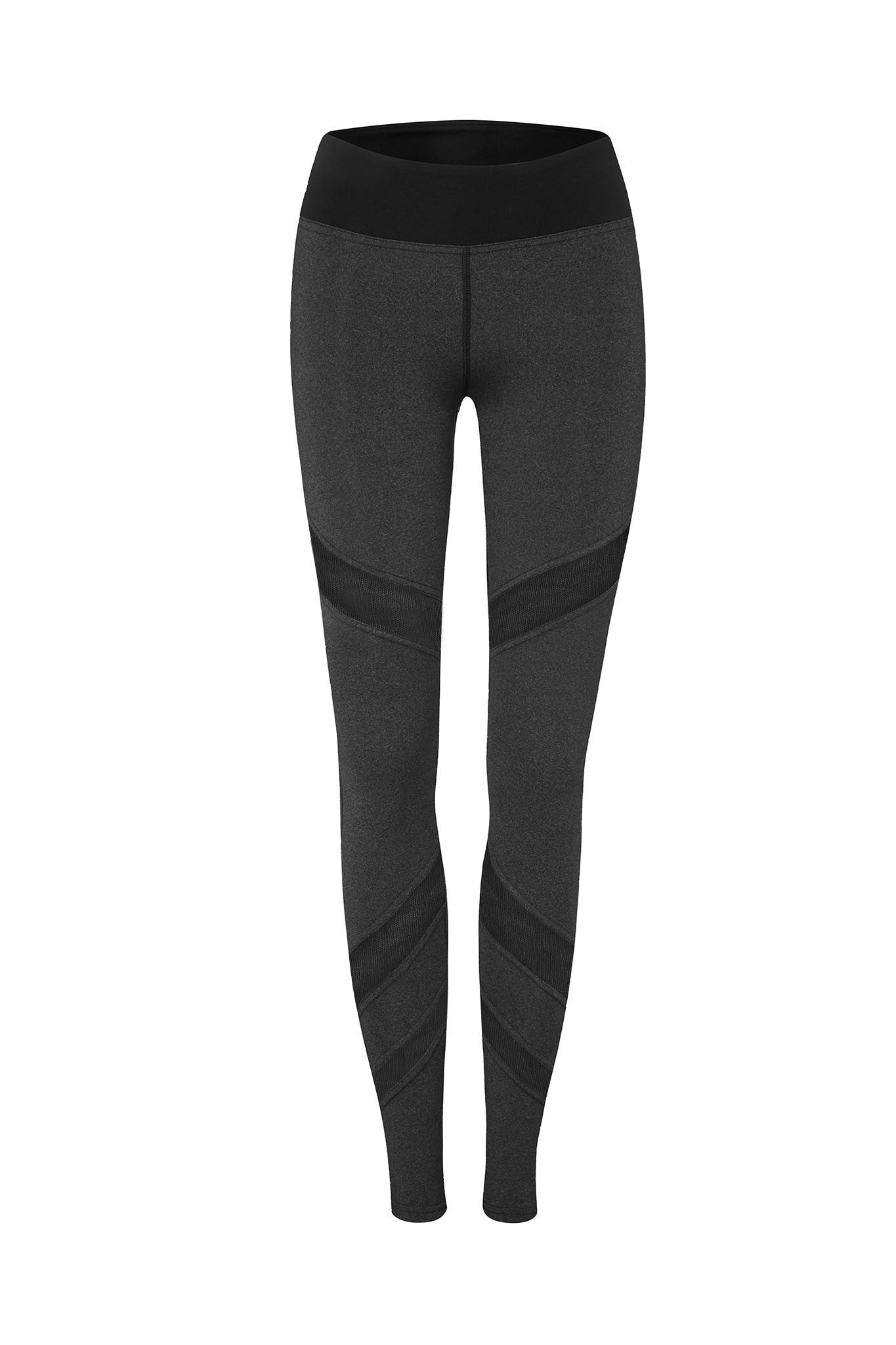 Front Mesh Panel Legging in Charcoal - AMAIA - 3
