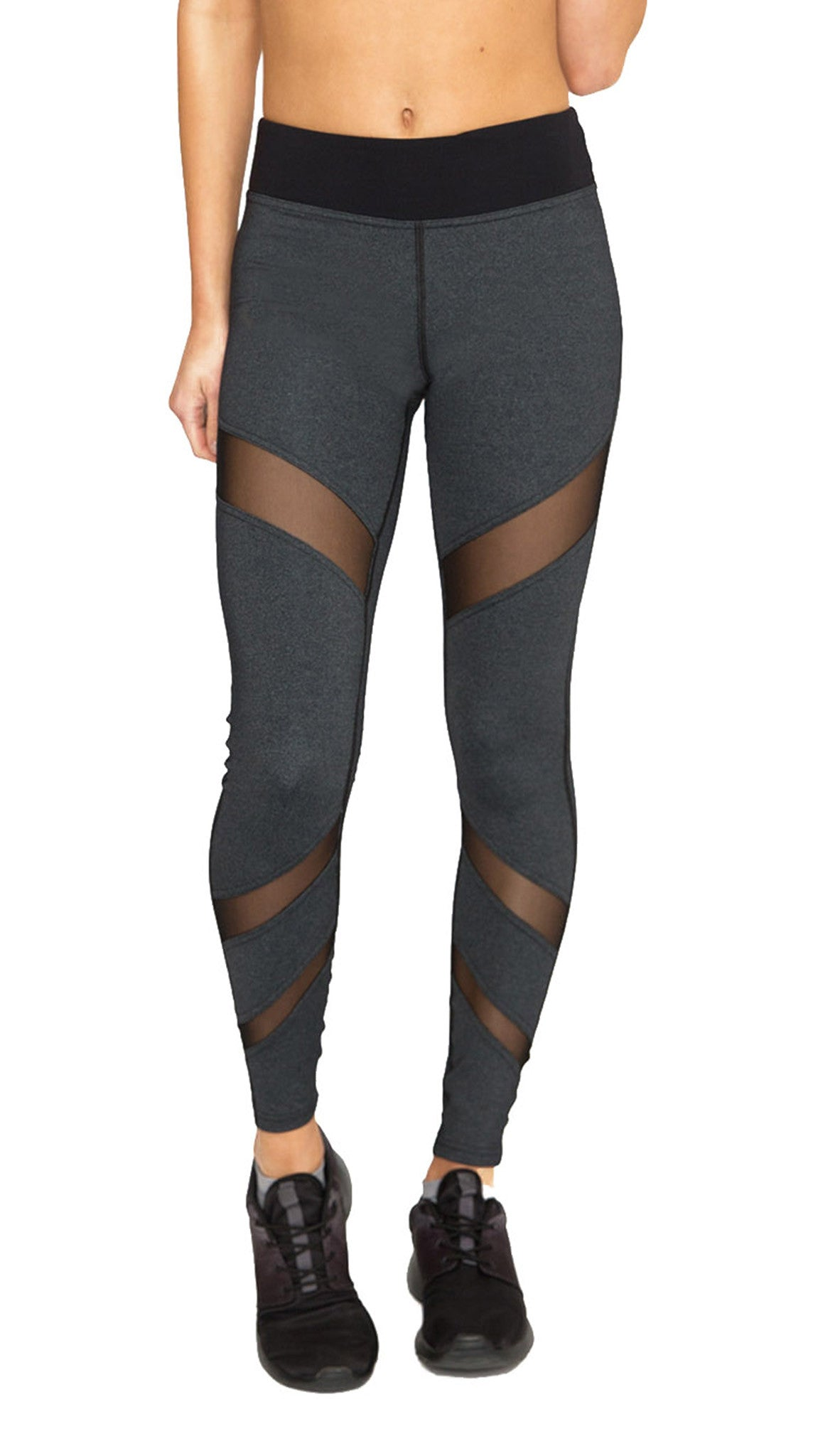 Front Mesh Panel Legging in Charcoal - AMAIA - 1