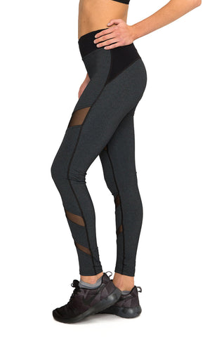 Front Mesh Panel Legging in Charcoal - AMAIA - 2