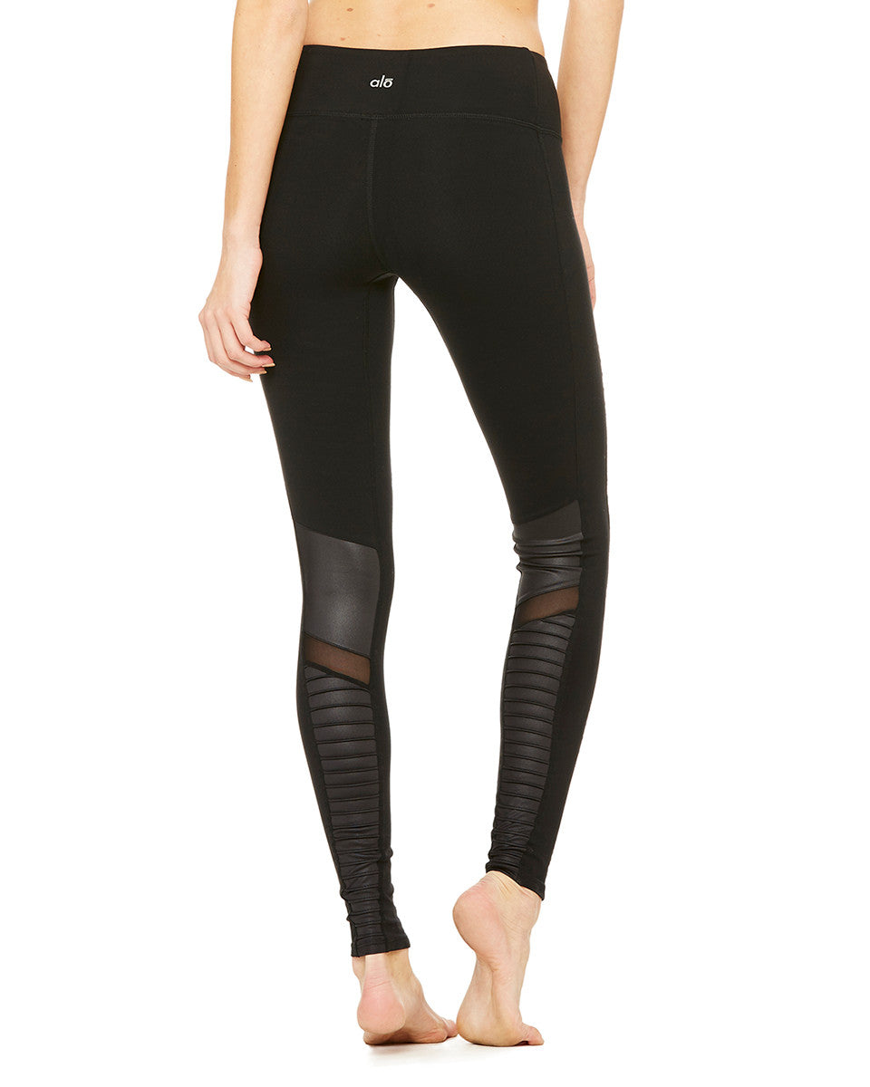 High-Waisted Moto Legging in Black - AMAIA - 2