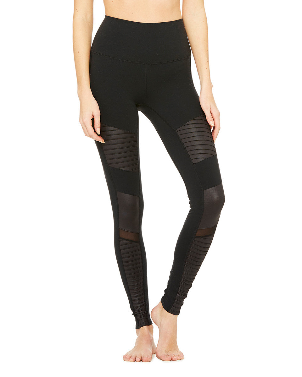 High-Waisted Moto Legging in Black - AMAIA - 1