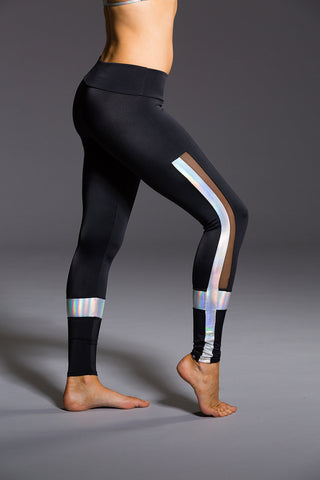 Power Legging in Black/Mermaid/Mesh - AMAIA - 2
