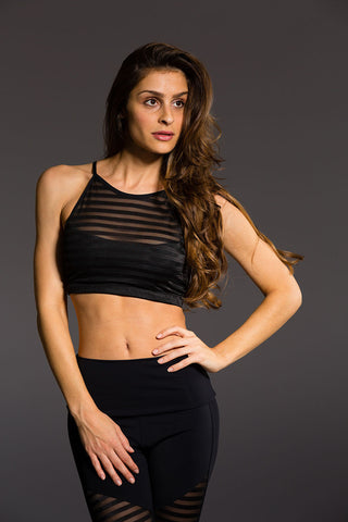 X-Back Elastic Bra in Black