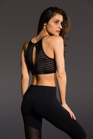 Mesh Halter in Black Stripe Mesh