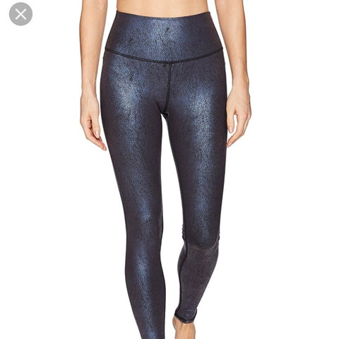 High-Waist Airbrush Legging in saltwater metallic/black