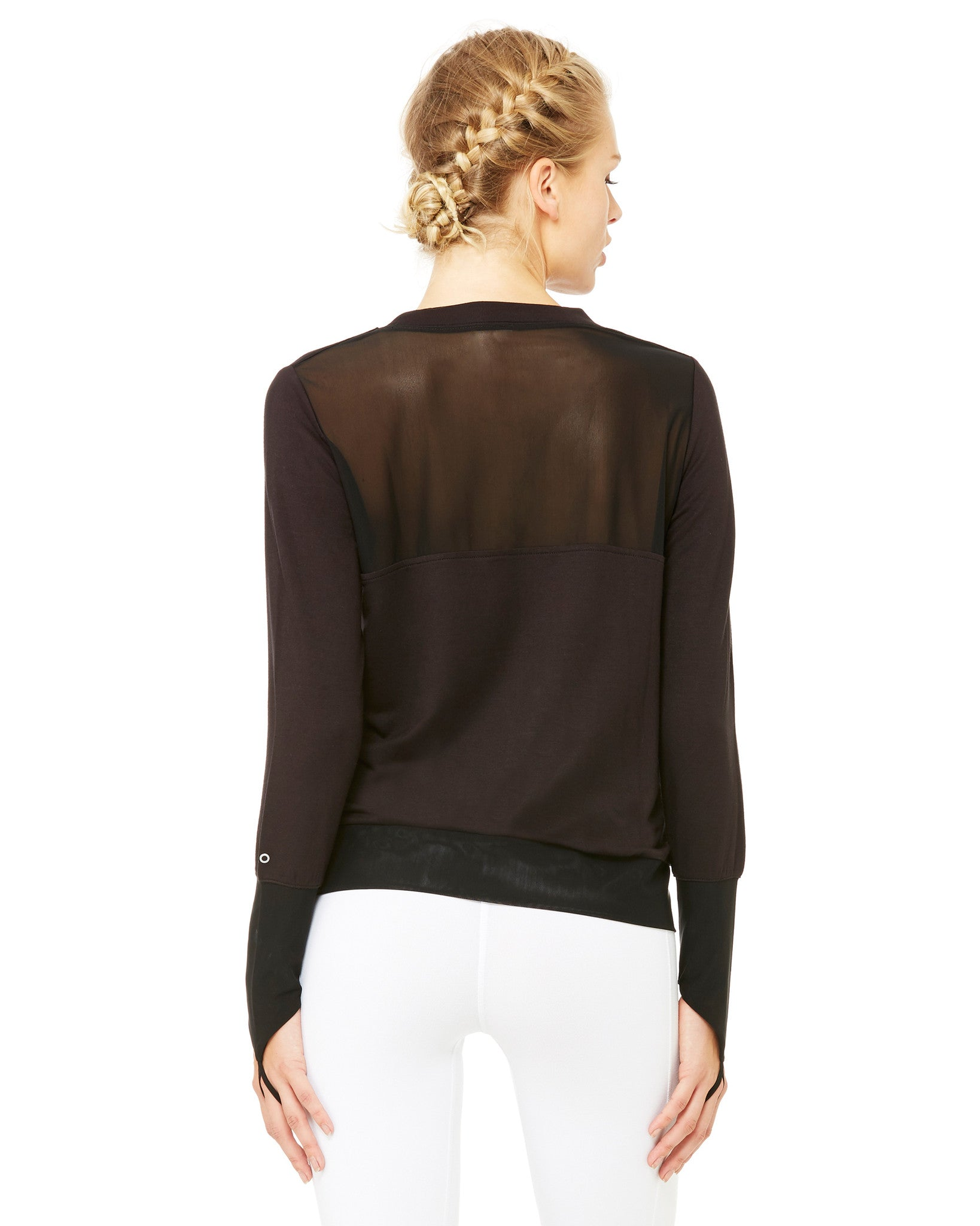 Serene Long Sleeve Top in Black - AMAIA - 2