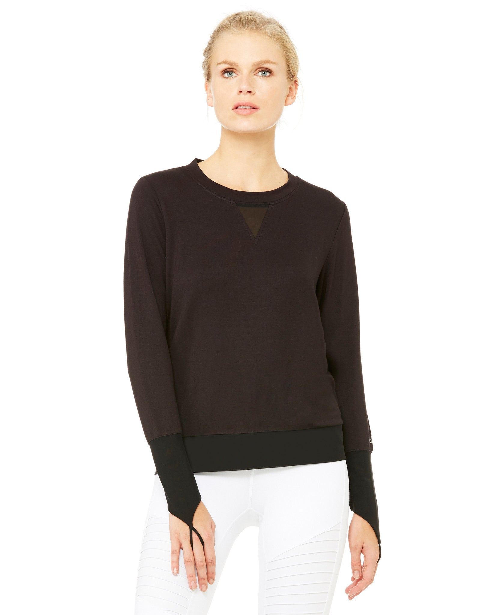 Serene Long Sleeve Top in Black - AMAIA - 1
