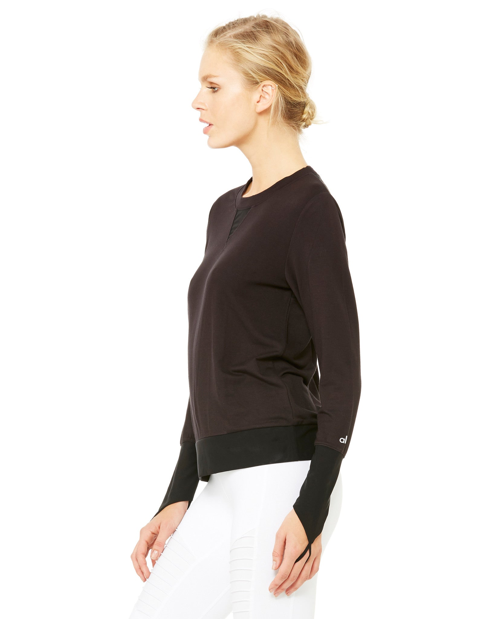 Serene Long Sleeve Top in Black - AMAIA - 3