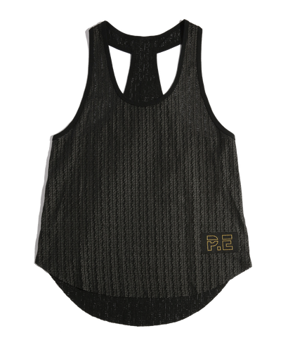 Body Check Mesh Tank in Black - AMAIA - 1