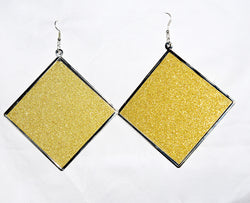 Square golden metal earrings