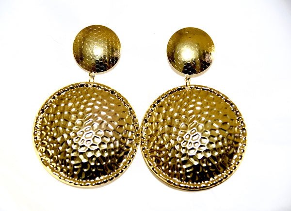 Golden Metal earrings, round.