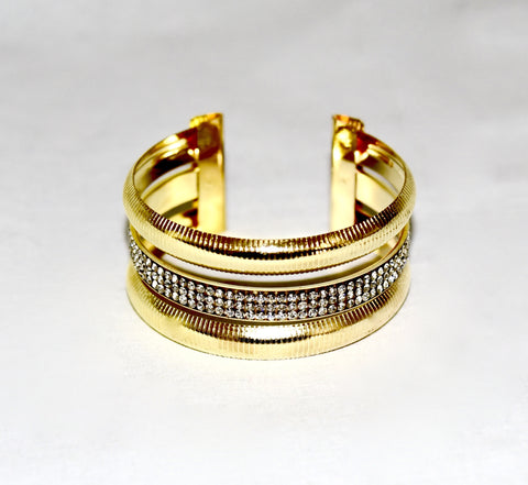 Metal golden bracelet, with rhinestones