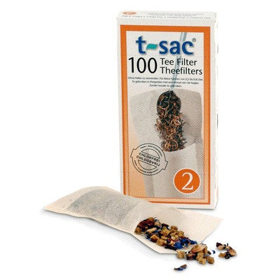 Tea Sac - Tea Filters Size 2 (Large) - Box of 100 - box with loose bag and tea