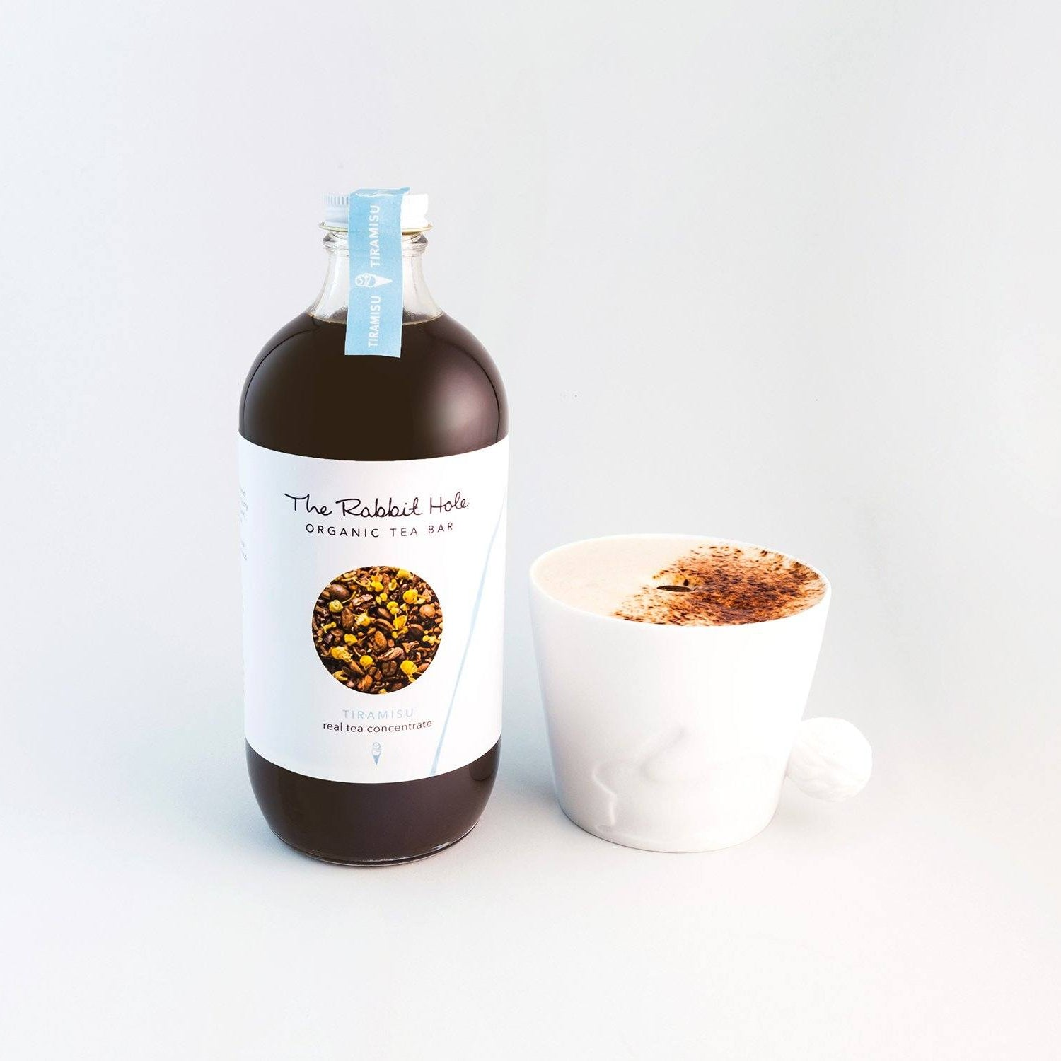 Tiramisu real Tea Mixer Gifts The Rabbit Hole - Australian Made Tea - real tea concentrate - bottle with a tea latte in a  white cup