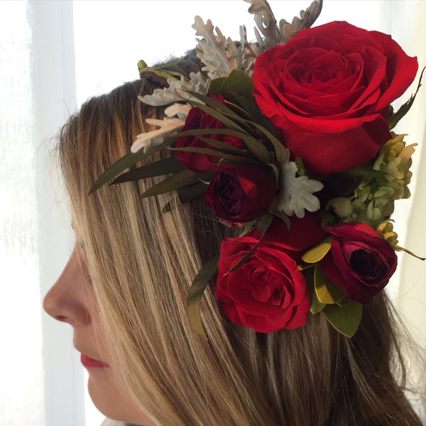 Classic Red Rose Flower Crown