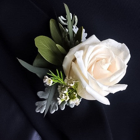 Classic White Rose Boutonnière