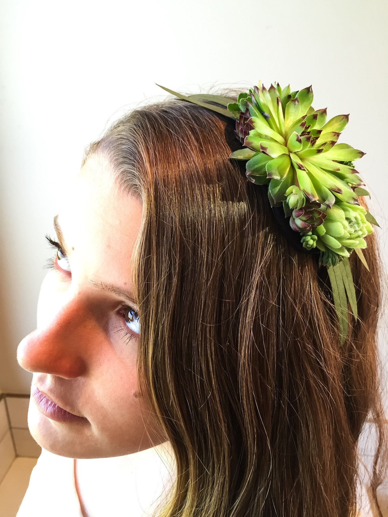 Succulent and preserved eucalyptus headband.