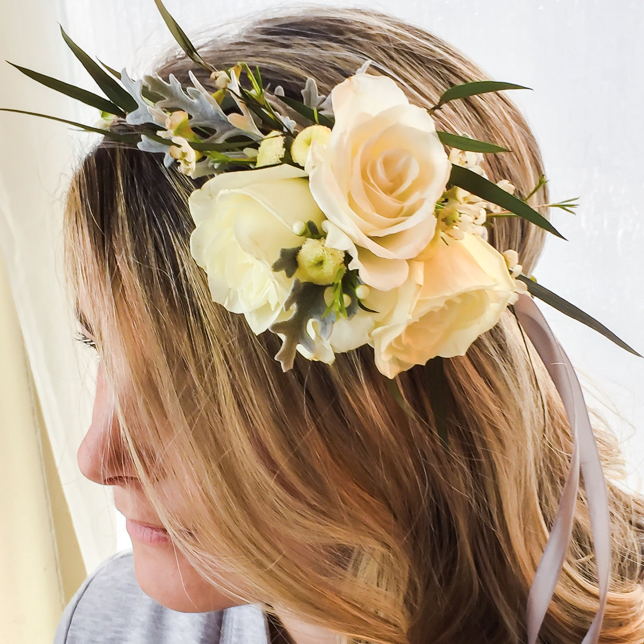 Classic White Flower Crown