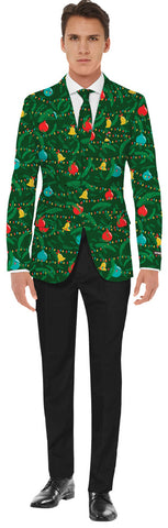Men's Green Christmas Jacket & Tie