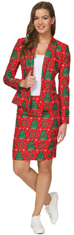 Women's Red Christmas Tree Suit