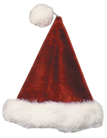 Burgundy Velvet Plush Santa Hat