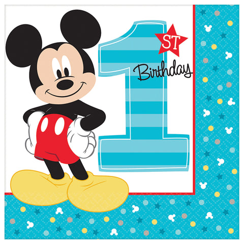 "6.5"" Mickey 1st Lunch Napkins - Pack of 16"