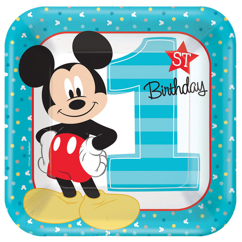 "9"" Mickey 1st Square Plates - Pack of 8"