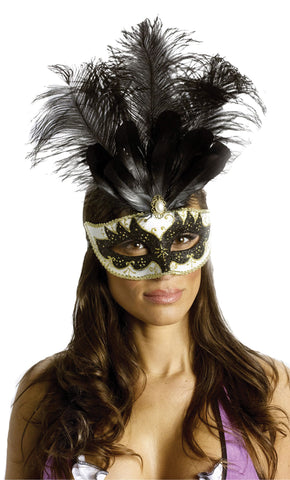 Women's Big Feather Carnival Mask