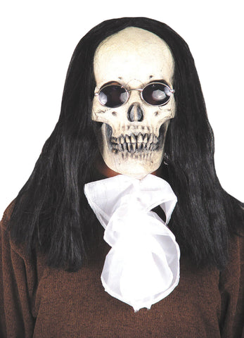 Deluxe Goth Skull Mask with Hair