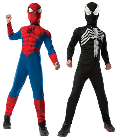 Boy's 2 in 1 Reversible Muscle Chest Spider-Man Costume