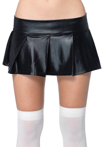 Pleated Wet-Look Skirt