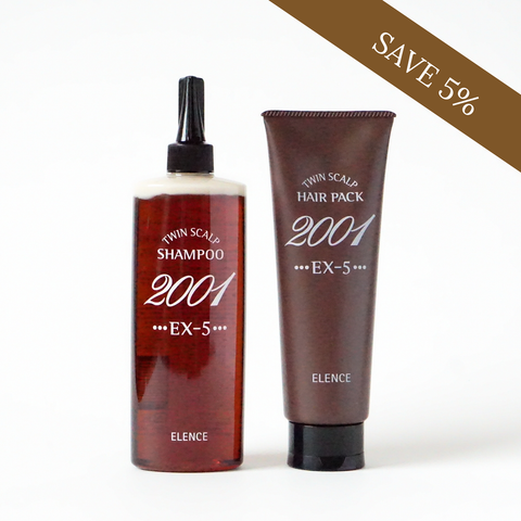 Elence 2001 Twin Scalp EX-5 Shampoo & Hair Pack Duo (All Hair Types) | Ideal for all hair types with serious hair growth and hair loss problems