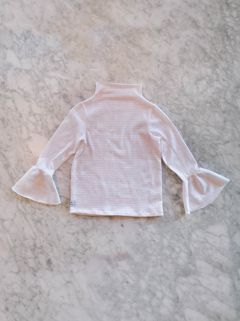 Mei Mei Top - White & Striped Pink