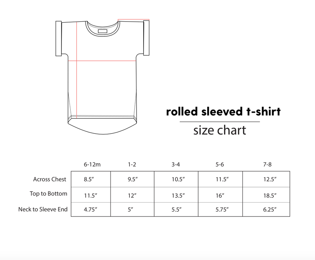 fitted body t-shirt, soft jersey fabric. Sizes, baby, toddler, big kid, 6 mo 12 mo 1 yr 2 yr 3yr 4yr 5yr 6yr 7yr 8yr old. Ethically + sustainably made in  California, USA. long in back, t-shirt size chart